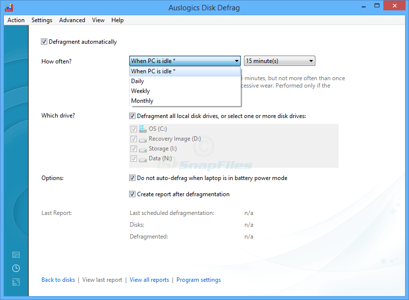 screenshot of Auslogics Disk Defrag