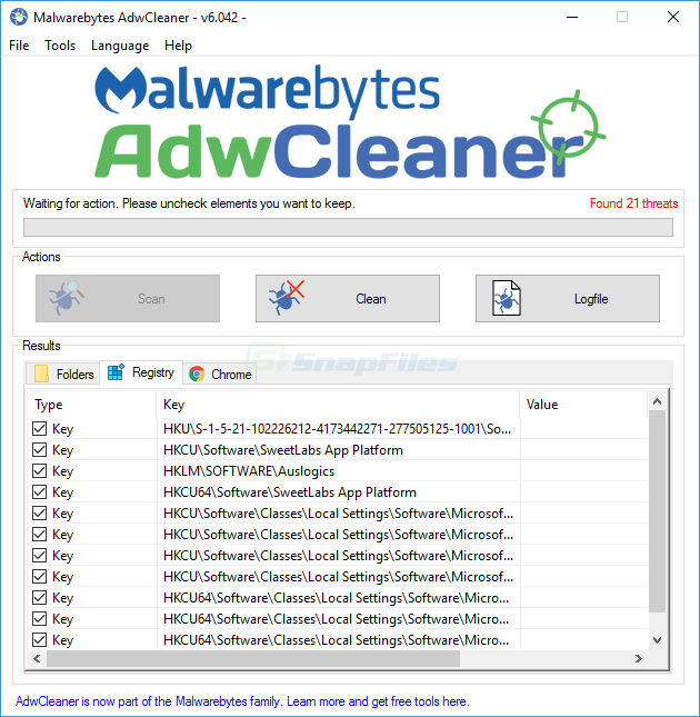 screenshot of Malwarebytes AdwCleaner
