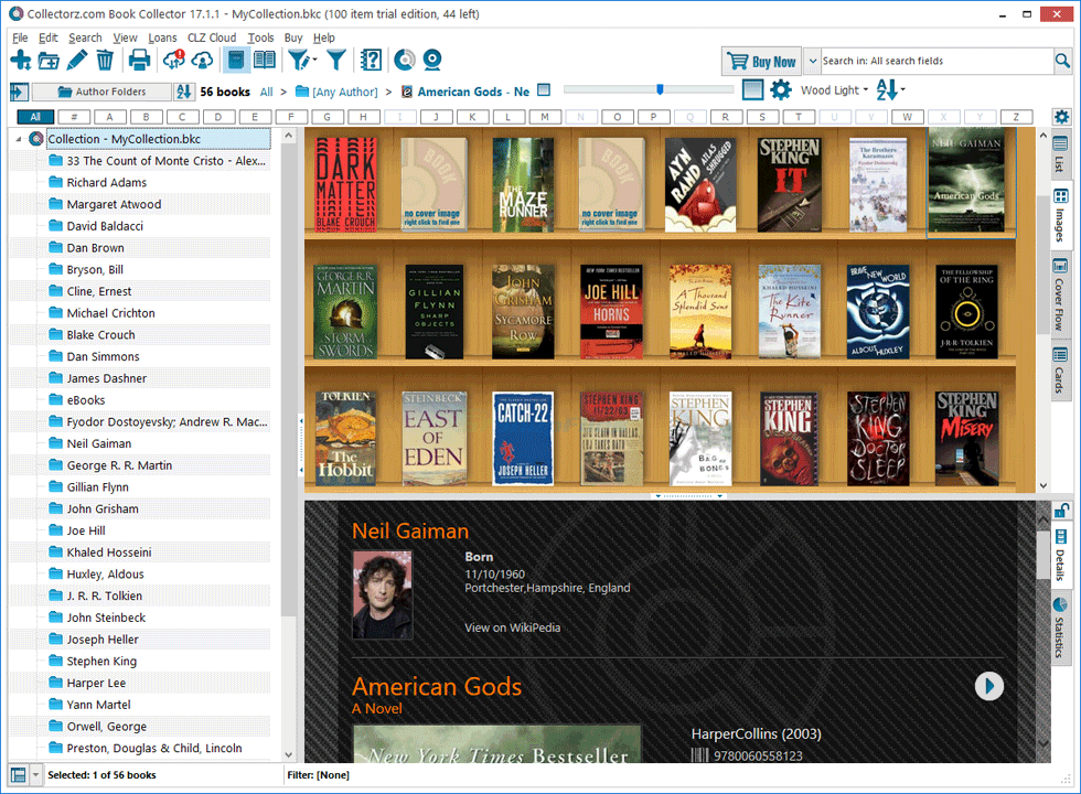 screen capture of Collectorz.com Book Collector
