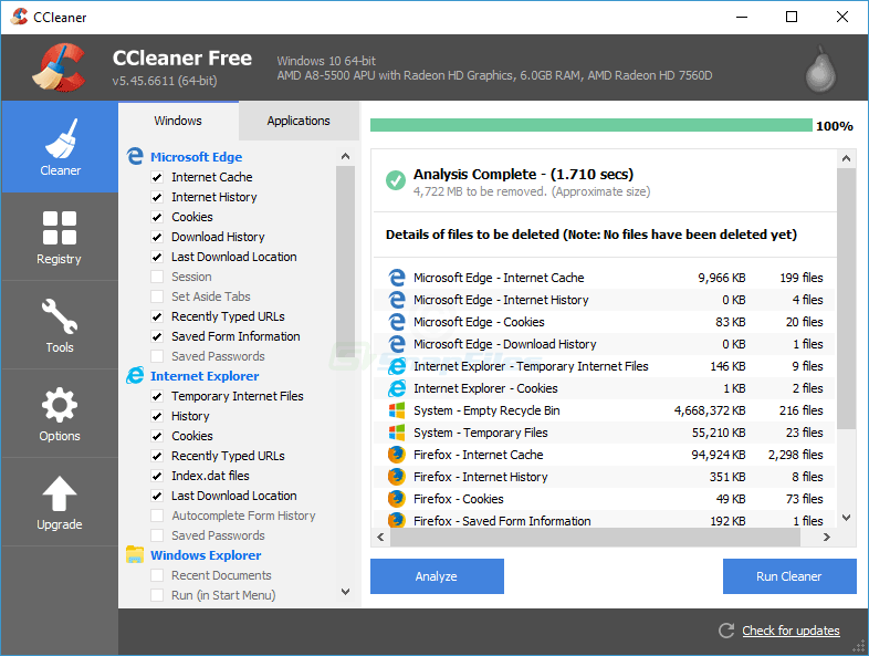 screen capture of CCleaner Portable