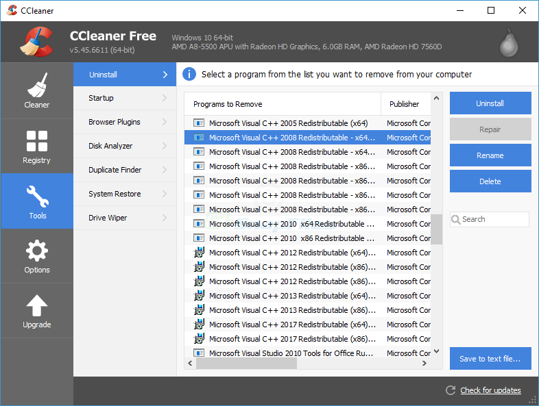 screenshot of CCleaner Portable