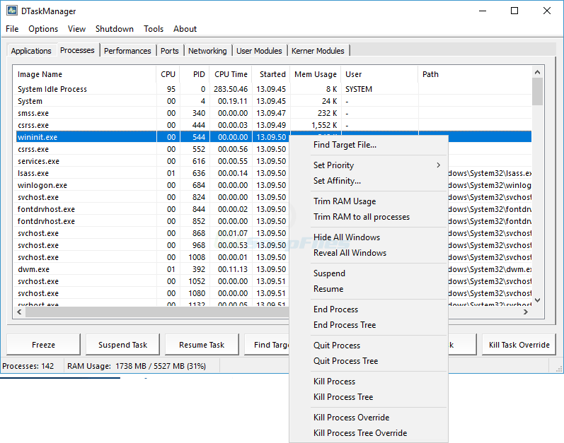 screen capture of DTaskManager