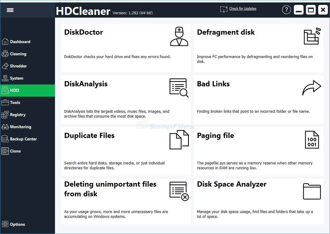 screenshot of HDCleaner