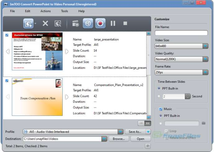 screen capture of ImTOO Convert PowerPoint to Video