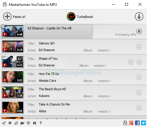 screen capture of MediaHuman YouTube to MP3