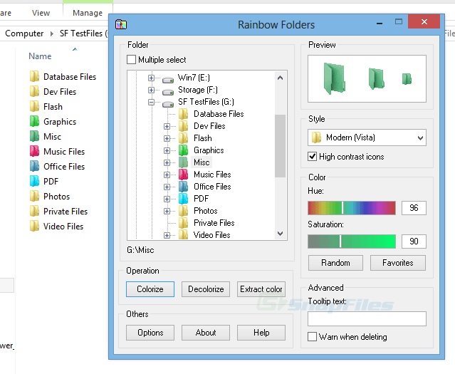 screen capture of Rainbow Folders