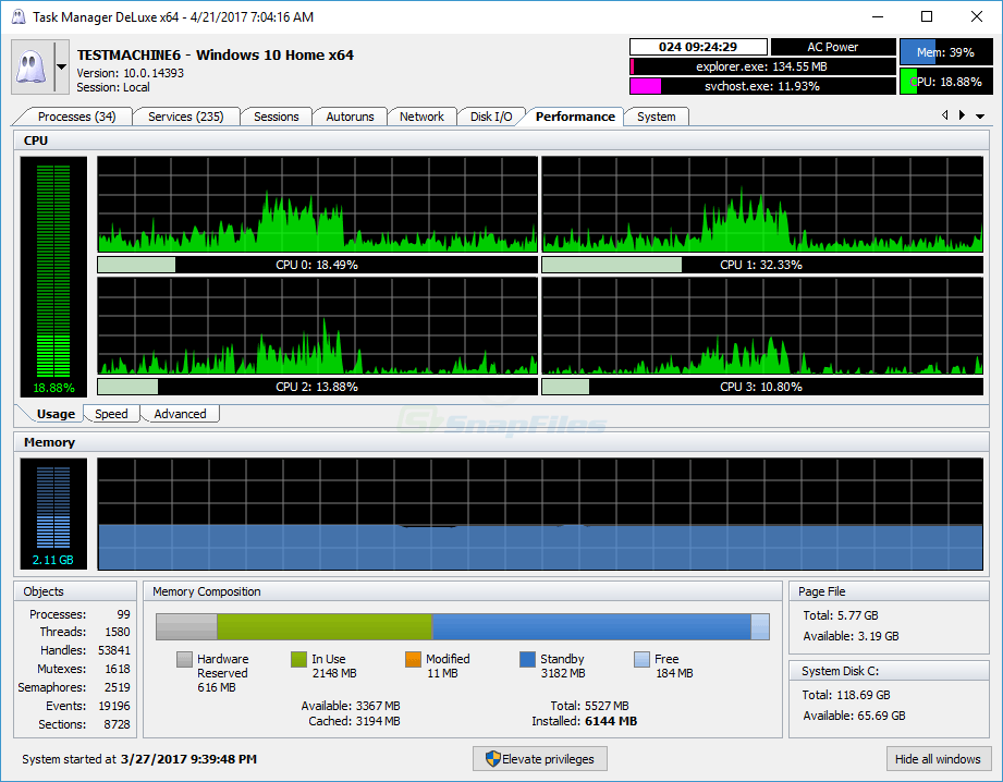 screenshot of MiTeC Task Manager DeLuxe