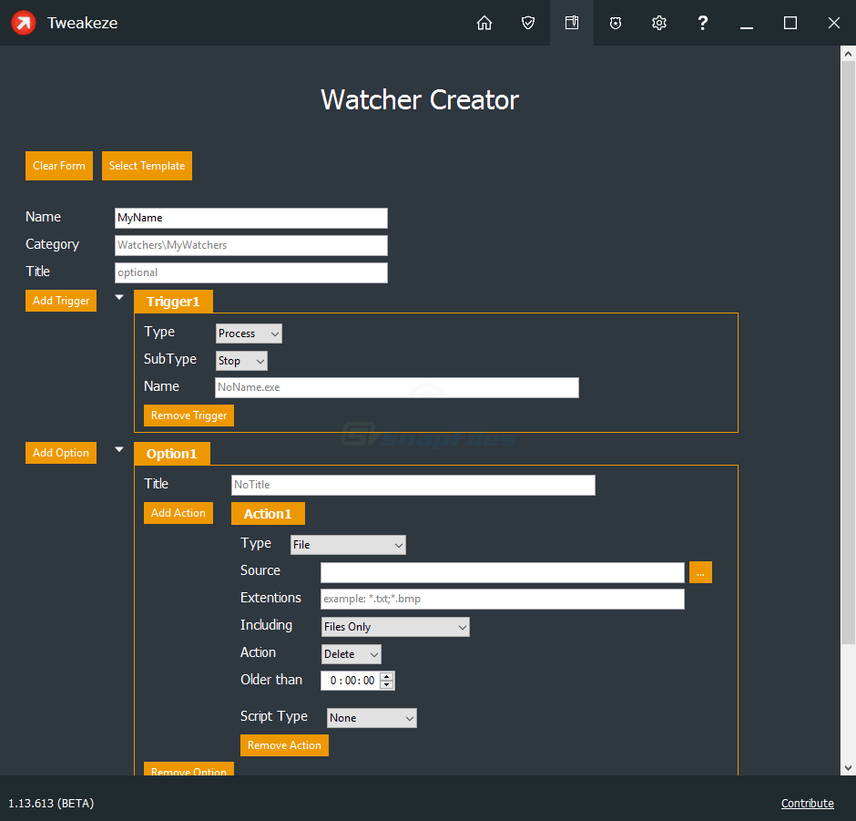 screenshot of Tweakeze