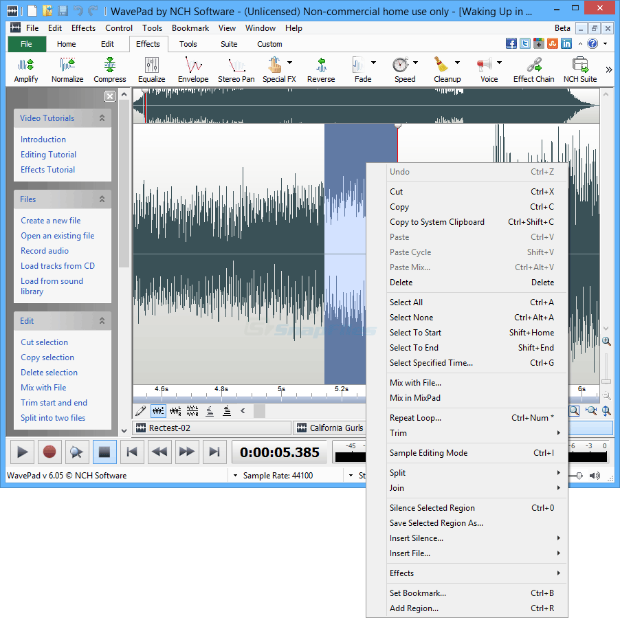 screenshot of WavePad